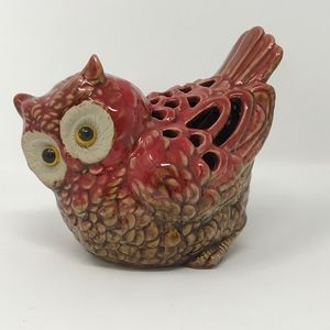 Vintage Ceramic Red Owl with Glass Eyes Figurine